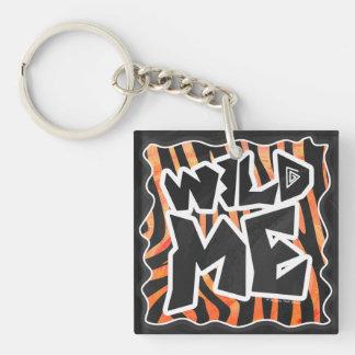 Zebra Black and Orange Print Single-Sided Square Acrylic Keychain