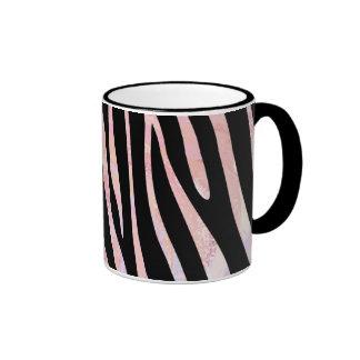 Zebra Black and Pink Print Ringer Mug