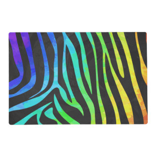 Zebra Black and Rainbow Print Laminated Placemat