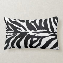 Zebra Black and White Animal Print Throw Pillow