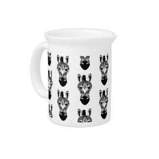 Zebra Black and White Pattern Drink Pitcher