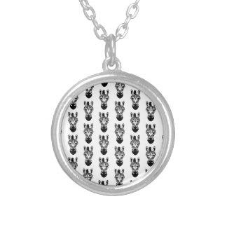 Zebra Black and White Pattern Silver Plated Necklace