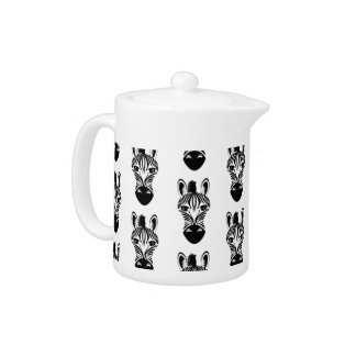 Zebra Black and White Pattern Teapot