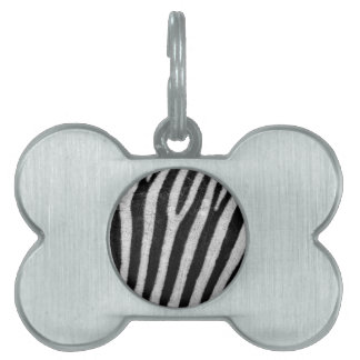 Zebra Black and White Striped Skin Texture Templat Pet Name Tag