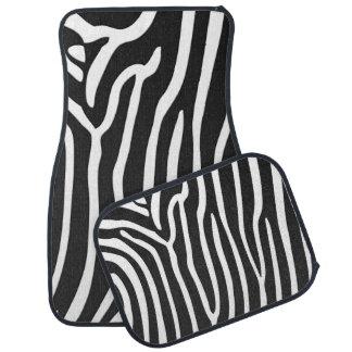 Zebra black and white stripes car mat