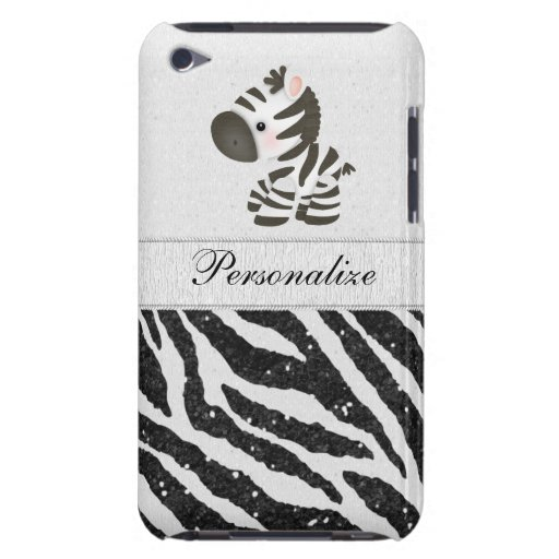 Zebra, Black Faux Glitter & Printed Ribbons Barely There iPod Cover