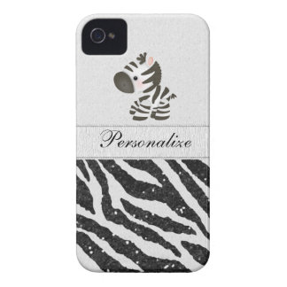Zebra, Black Faux Glitter & Printed Ribbons Case-Mate iPhone 4 Case