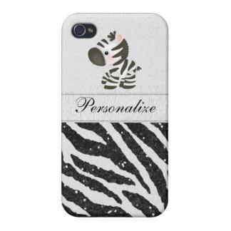 Zebra, Black Faux Glitter & Printed Ribbons iPhone 4/4S Cover