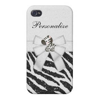 Zebra, Black Faux Glitter & Printed Ribbons iPhone 4 Covers