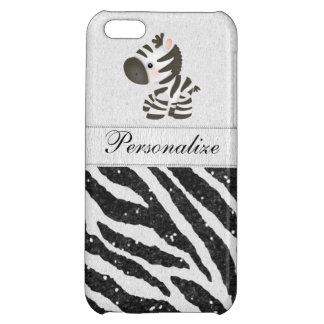 Zebra, Black Faux Glitter & Printed Ribbons Case For iPhone 5C