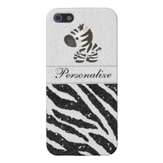 Zebra, Black Faux Glitter & Printed Ribbons iPhone SE/5/5s Cover