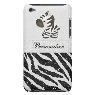 Zebra, Black Faux Glitter & Printed Ribbons iPod Touch Case-Mate Case