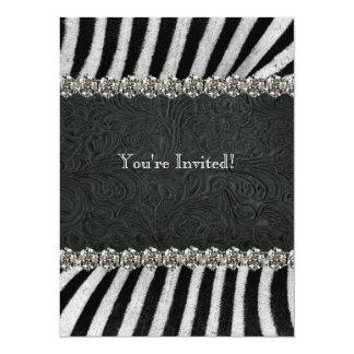 Zebra Black Leather Rhinestone Retirement Party Card