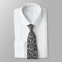 Zebra Black Neck Tie