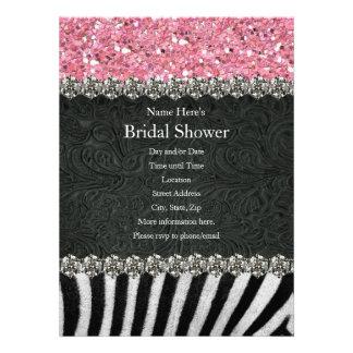 Zebra Black Pink Glitter Bridal Shower Invitation