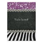 Zebra Black Purple Glitter Look Bridal Shower Card