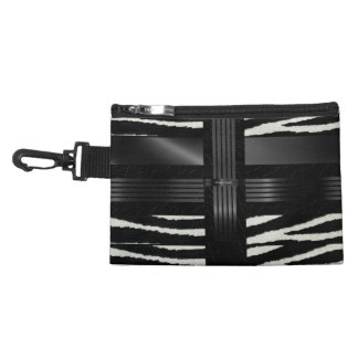Zebra Black Silk Pattern Accessory Bag