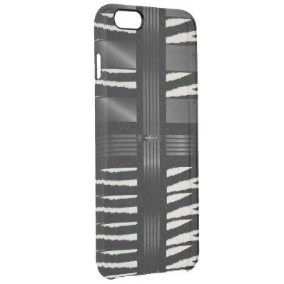 Zebra Black Silk Pattern Clear iPhone 6 Plus Case
