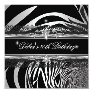 Zebra Black Silver White 40th Birthday Party Card
