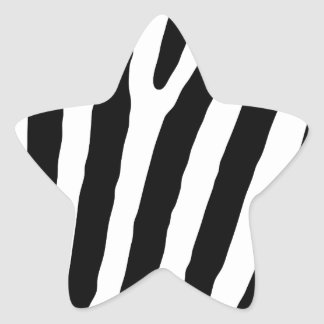Zebra Black & White Lines Star Sticker