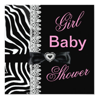 Zebra black white Pink Girl Baby Shower Lace 5.25x5.25 Square Paper Invitation Card