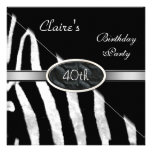 Zebra Black White Silver 40th Birthday Party Personalized Announcements