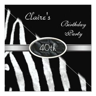 """Zebra Black White Silver 40th Birthday Party 5.25"""" Square Invitation Card"""