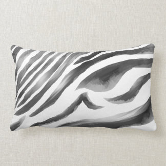 Zebra black/white water lumbar pillow