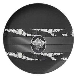Zebra Bling Diva Diamond Melamine Plate