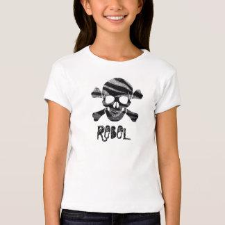 Zebra Bling Skull and Bones Rebel Kids T-shirt