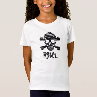 Zebra Bling Skull and Bones Rebel Kids T-shirt