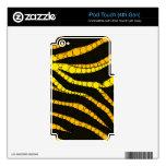Zebra Bling Yellow/Black iPod Touch 4G Skins