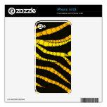 Zebra Bling Yellow/Black Skin For iPhone 4S