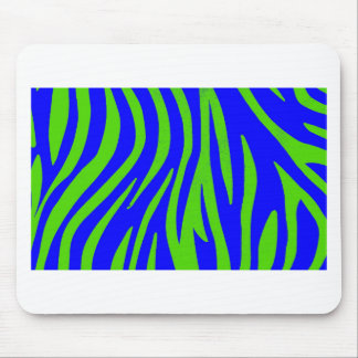 Zebra Blue and Green Abstract Art Mouse Pad