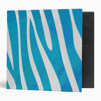 Zebra Blue and White Print 3 Ring Binder