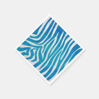 Zebra Blue and White Print Standard Cocktail Napkin