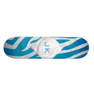 Zebra Blue and White with Monogram Skateboard Deck