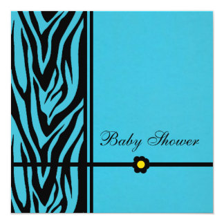 Zebra Blue-Baby Shower Boy 5.25x5.25 Square Paper Invitation Card