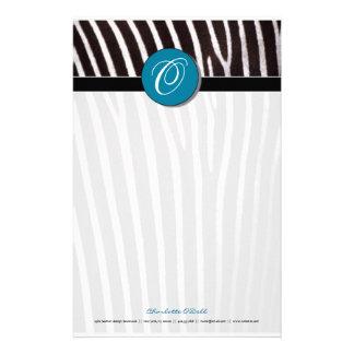 zebra; blue monogram stationery