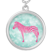 Zebra Bokeh Silver Plated Necklace