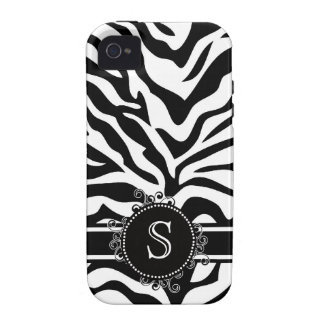 Zebra Bold Black White with Fancy Swirl Monogram iPhone 4/4S Covers