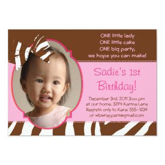 Zebra Bow 1st Birthday Photo Invitations