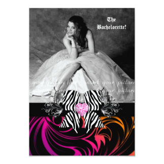 Zebra Bow Bachelorette Party Photo Orange Purple Card
