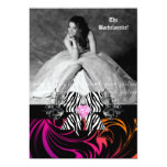 Zebra Bow Bachelorette Party Photo Orange Purple 5x7 Paper Invitation Card