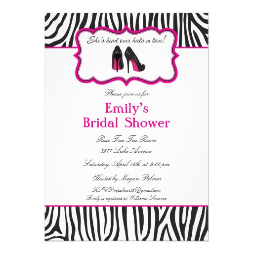 ... invitations for a zebra themed bridal shower try this fun zebra bridal