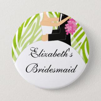 Zebra Bride Bridesmaid  Button / Pin Lime Green