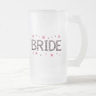 Zebra Bride Frosted Glass Beer Mug