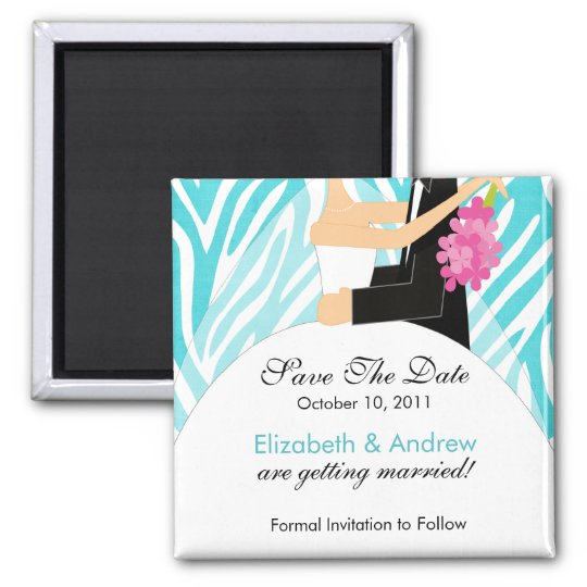 Zebra Bride Groom Save The Date Magnet