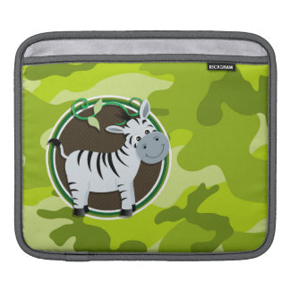 Zebra; bright green camo, camouflage iPad sleeve