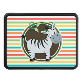 Zebra; Bright Rainbow Stripes Hitch Cover